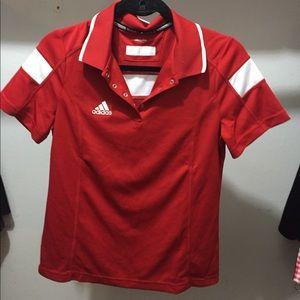 Adidas climalite medium collar shirt red ❤️❤️❤️